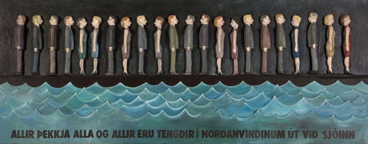 Hulda Hákon (1956), Allir þekkja alla og allir eru tengdir í norðanvindinum út við sjóinn / Everyone knows everyone and all are connected in the northerly wind by the sea, 1991.