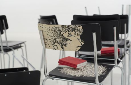 The Book of Aesthetic Education of the Modern School, Priscila Fernandes 2014-2015 Installation view at Foundation Joan Miró, Espai 13, Barcelona Courtesy of the artist, Photo: E.C. Thomson
