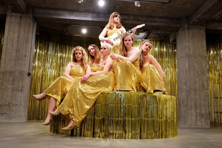 The girls that have participated in the performance Woman in E at the exhibition God, I Feel So Bad by Ragnar Kjartansson at Hafnarhús. Photo: Sunna Axels.