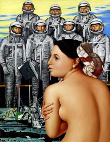 Erró, Mercury Astronauts in Spacesuits 1980, Oil on canvas 100 x 76 cm.