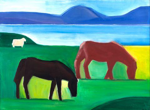 Louisa Matthíasdóttir, Thingvellir Lake, 1989, oil on canvas, 67x90 cm.