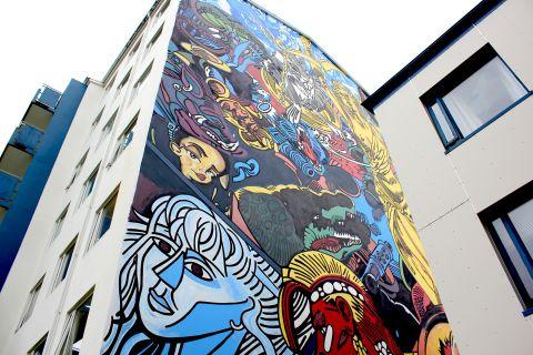 Erró's mural in Breiðholt.