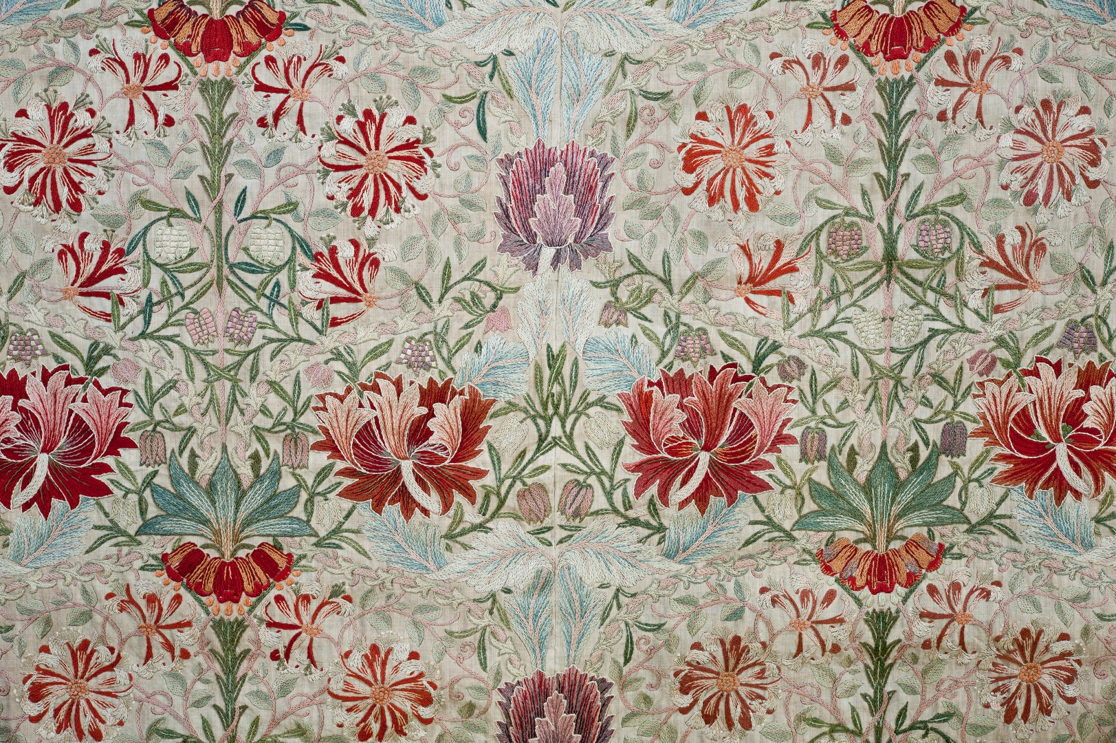 William Morris, Honeysuckle, útsaumur, ca.1876, William Morris Gallery, London.