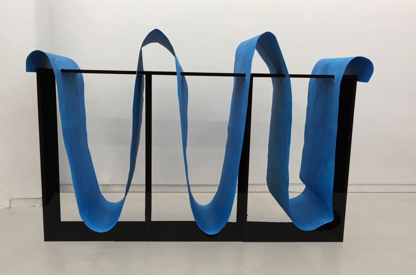 Páll Haukur Björnsson, Blue & black monochrome (the whale and the wave), drawing, 2018 acrylic on paper and mdf, 240x160x75cm.