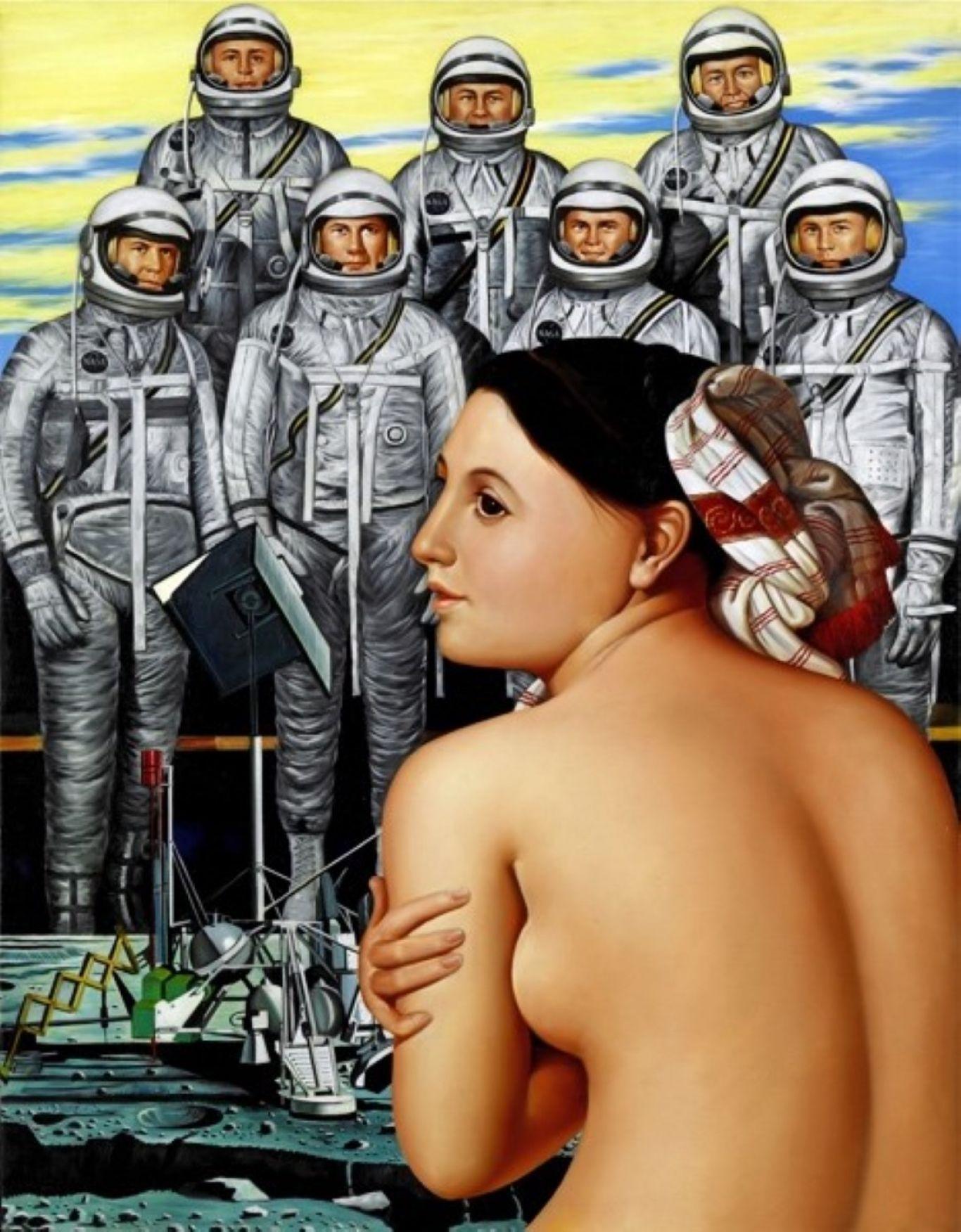 Erró, Mercury Astronauts in Spacesuits/Mercury geimfarar í geimbúningi, 1980, Oil on canvas/Olía á striga, 100 x 76 cm.