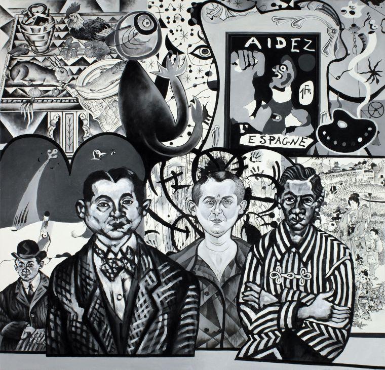 Erró, Miró, 2013, oíualkýð á striga.