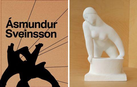 Bókin Ásmundur Sveinsson og afsteypan Hvíld eftir Ásmund.