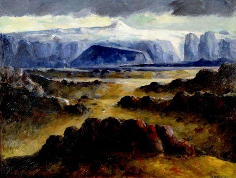 Jón Stefánsson, Tindafjallajökull, 1940, Olía á masónít.