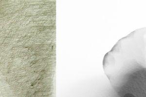 Artworks by Sari Cedergren (left) and Claudia Hausfeld (right).